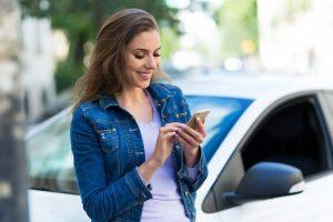 Female using her cellphone