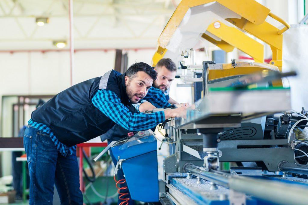 men testing the machine