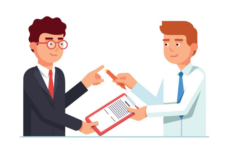 Salesman passing contract document with penSalesman passing contract document with pen