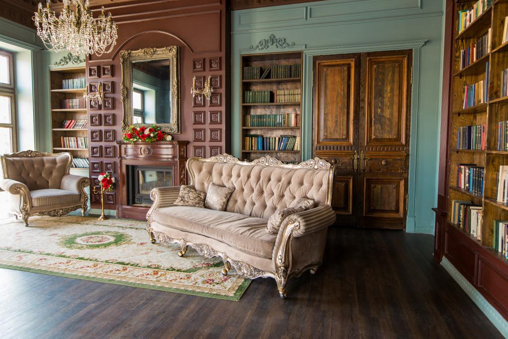 vintage designed home library